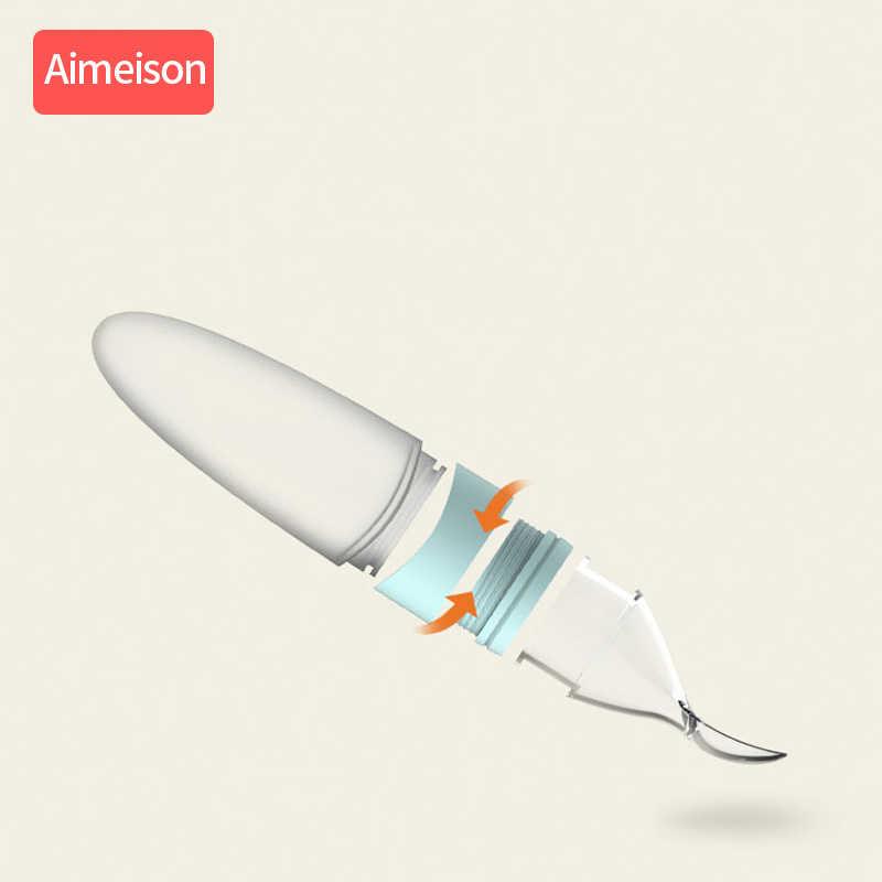Aimeison Sendok Silikon Silicone Makan Bayi Bayi Silikon Makan dengan Sendok Pengumpan Makanan Sereal Beras Botol Sendok untuk Bayi