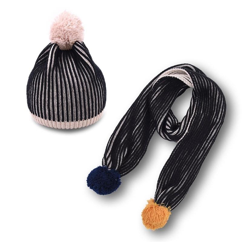 WZCX 2019 New Stripe Hairball Korean Version Children'S Scarf Keep Warm Autumn Winter Fashion Knitted Hat Beanie