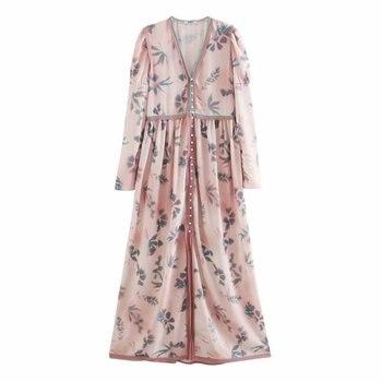 2020 Spring Summer New Grand Prix Print pink zaraing women Dress sheining vadiming female Dress vintage plus size XDN9539 2