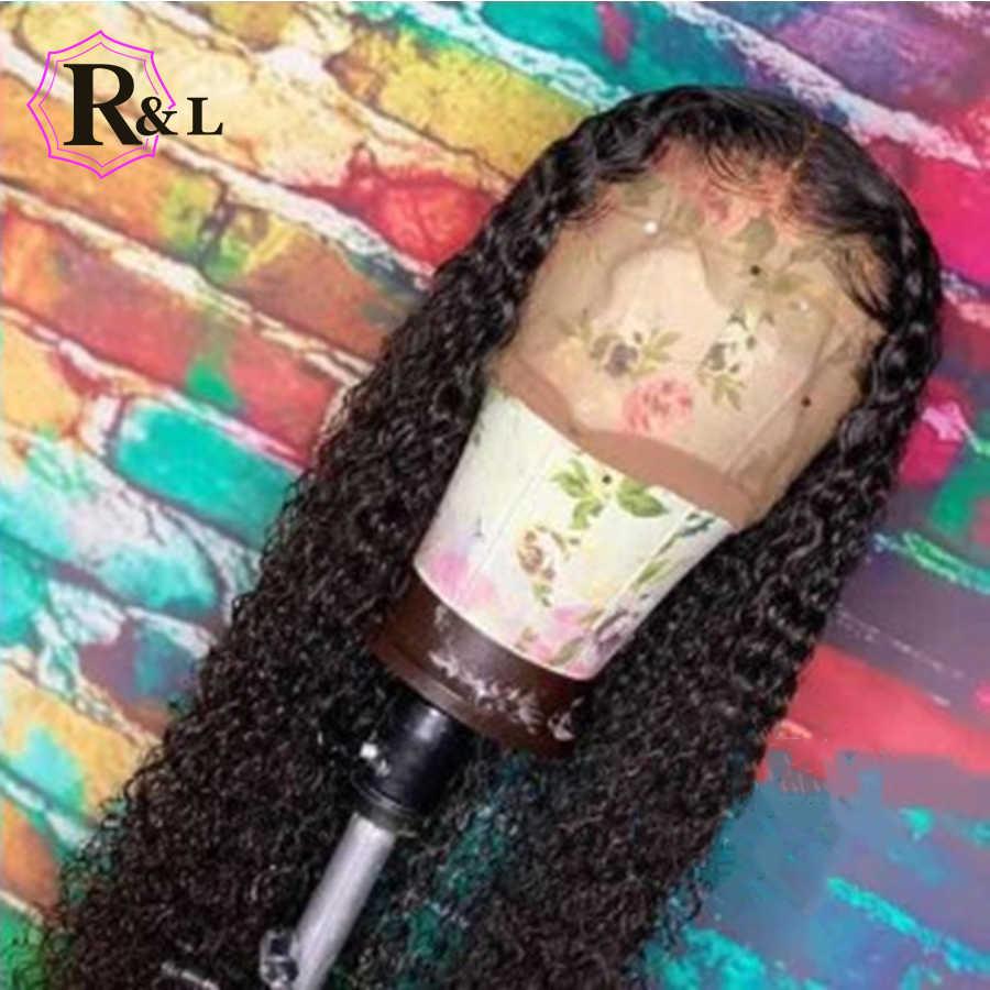 Peluca rizada RULINDA, peluca brasileña de pelo humano frontal de encaje con pelo de bebé, peluca con malla frontal de 13x4, cabello no Remy Pre desplumado, densidad del 130%