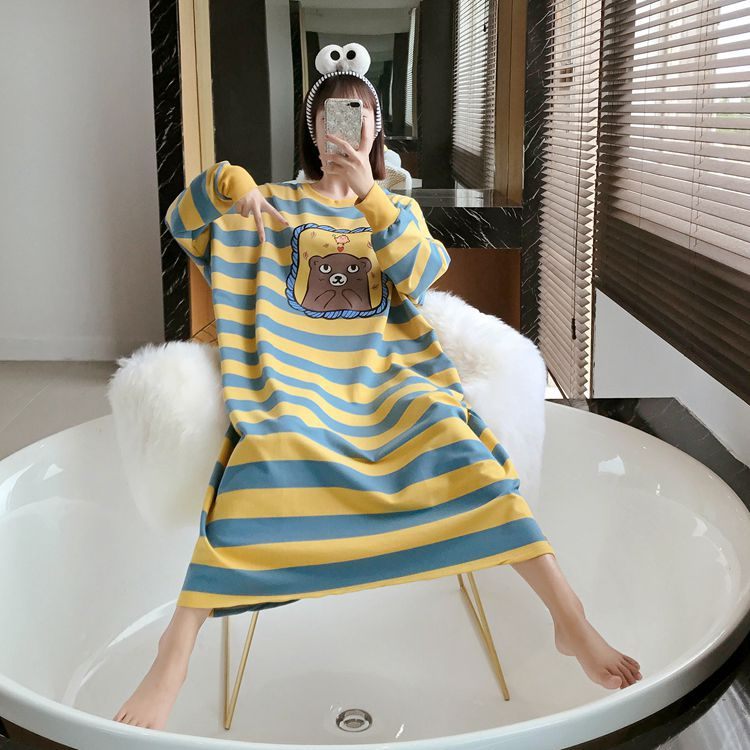 Nightgown Women's Long Sleeve Autumn Yellow Blue Stripes Bear Skirt M-XXL 3 PCs Color