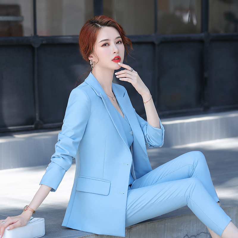 High quality women's suit pants 2020 autumn professional wear temperament jacket casual trousers feminine Two-piece
