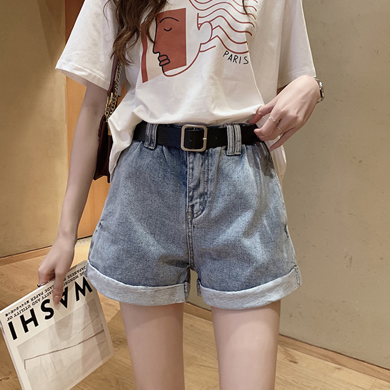Casual Solid High Waist Jean Shorts Women Vintage Loose Hot Shorts Streetwears Plus Size Female Fashion Simple Wild Short Summer