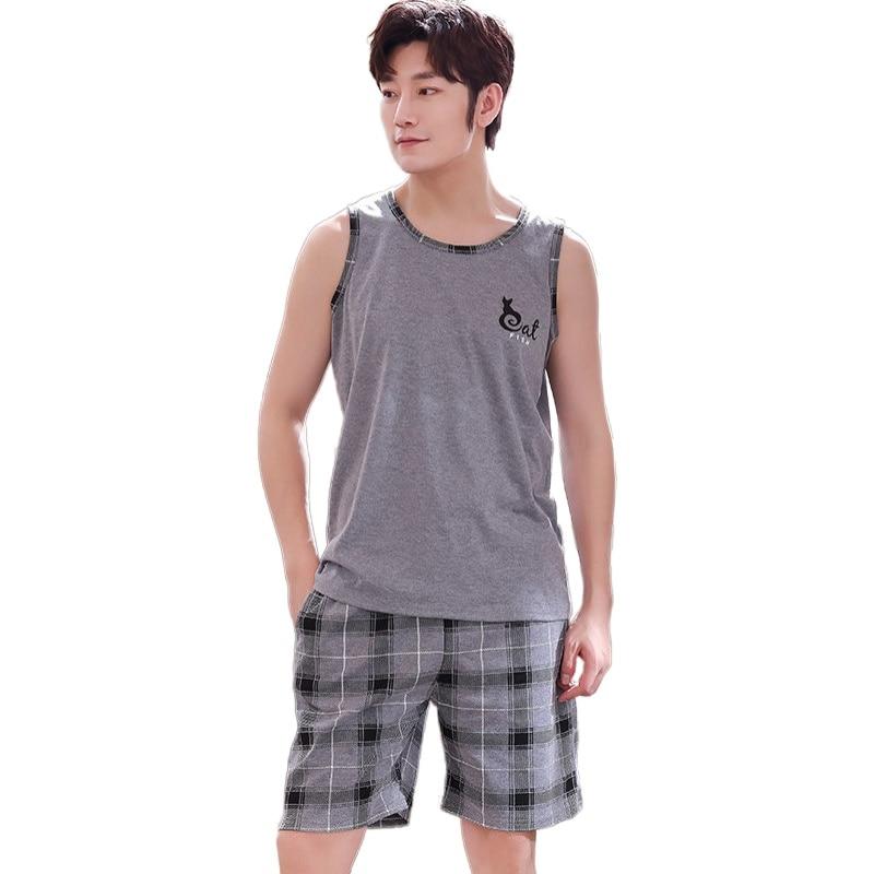 Gray Vest Tops + Plaid Short Pants Pajama Sets For Men Plus Size L-4XL Sleepwear Summer Male Large Sleeveless 100%cotton Pyjamas
