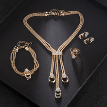 2019 New Fashion Women Wedding Jewerly Set Gold Set Tassel Earrings Bracelet Jewelry Plated Crystal Ring Necklace Accessories gold plated embellished ring set