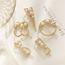 New Pearl Tiara Geometry Hairclip Sweet One Word Bangs Hairpin Side Clip Fashion Jewelry Womens Accessories 3 pcs set new simple fashion artificial pearl charming women lady hairpin sweet girls flower hairpins word bangs clip