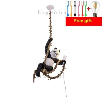 Creative Resin  Panda Light Loft Industrial Kitchen Light Fixture Hemp Rope Hanging Lamp Restaurant Home Decor Luminaire