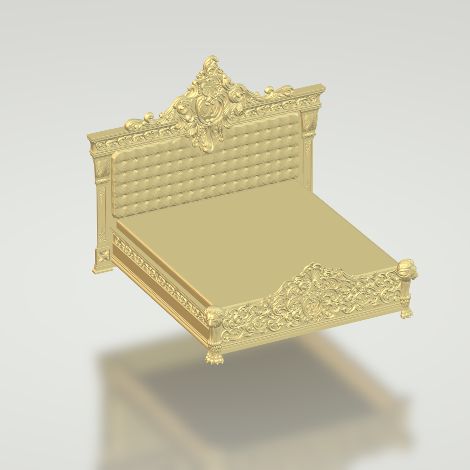 Complete Wide Luxurious Bed 3D STL Format Files Ready For CNC Carving Woodworking Files Works With 3 Axis CNC ArtCAM Aspire