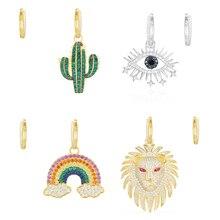 Kakany pendiente de León para mujer, diseño de Cactus, Ojo de la suerte, arcoíris, accesorios para mujer