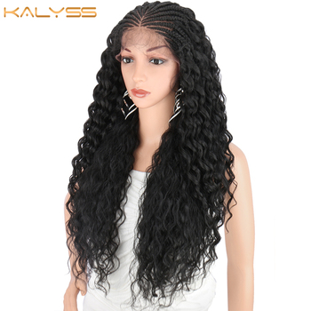 Kalyss 28 Inches 13x5 Hand Braided Lace Frontal Braids Wigs with Baby Hair for Black Women Curly Wavy Synthetic Lace Front Wig