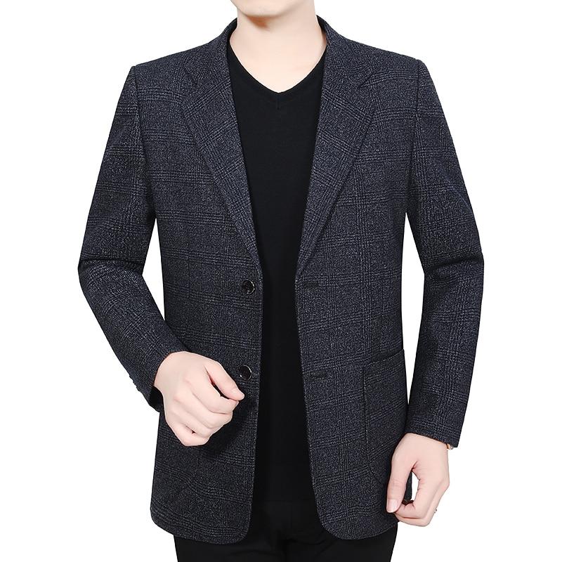 Spring Autumn Man Elegant Blazer Dark Gray Notched Collar Design Tailored Suit Jacket Male Business Casual Slim Fit Blazers Suit