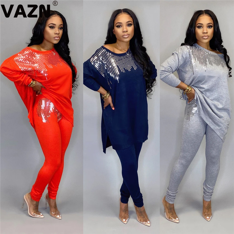 VAZN 2020 Color Autumn New Fashion Sport Solid O-neck 2 Pieces Casual Women Set Full Sleeve Full Length Bodycon Women Set