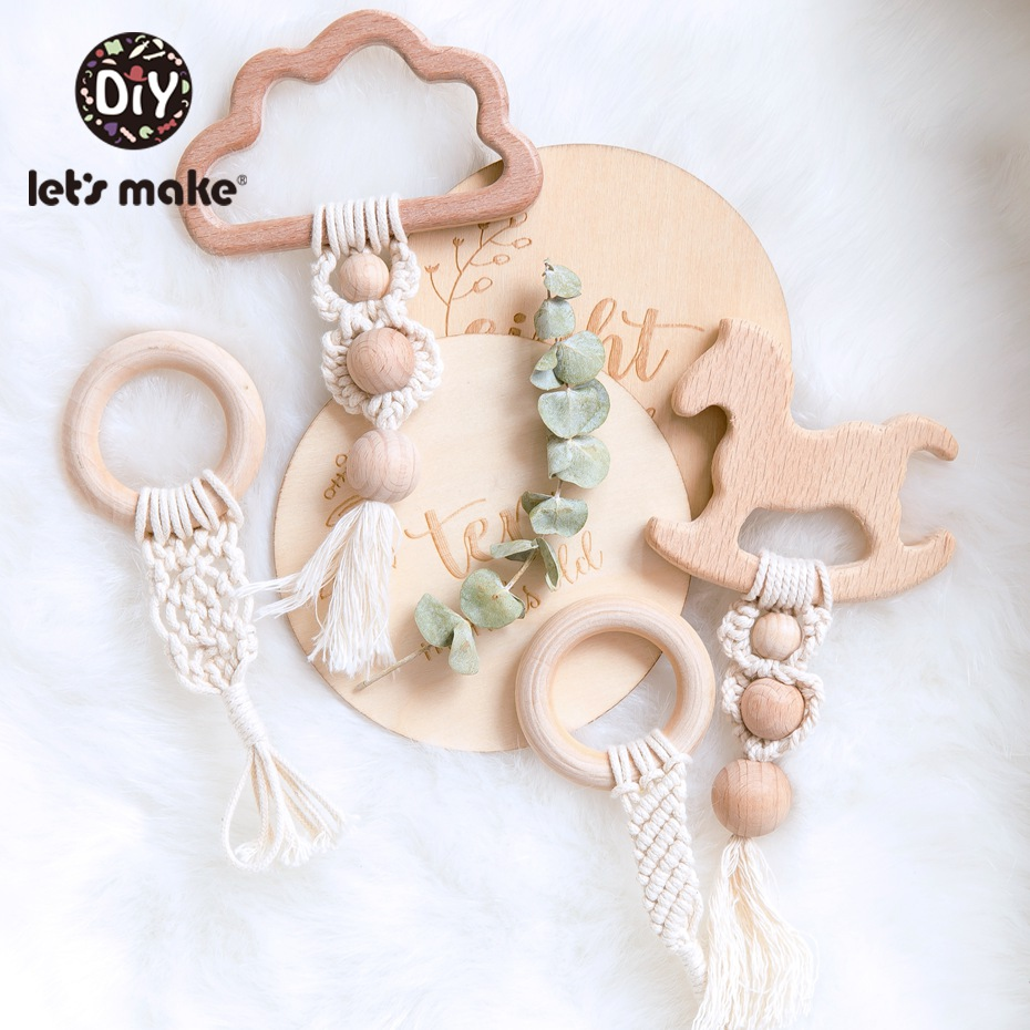 Let'S Make 1Pc Baby Teething Hanging Toy Wooden Rattles Toys For Children Stroller Pendant Baby Bed Bell Rattle Crib Mobiles