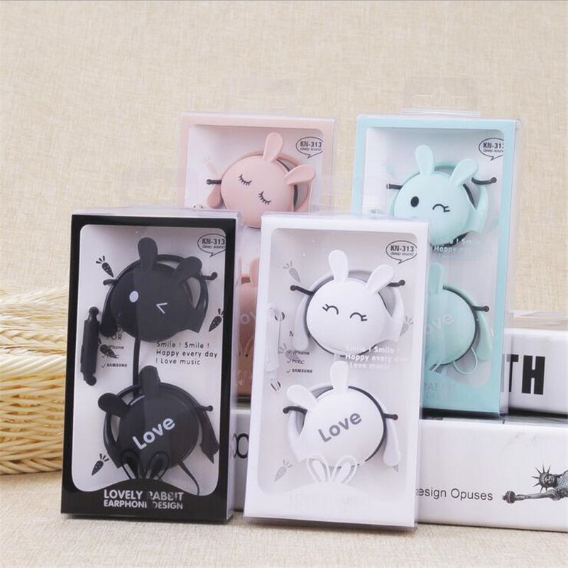 Cartoon Cat Rabbit Ear Hook Wired Earphone Sport Running Stereo Headphones Children Girl Headset For Mobile Phone