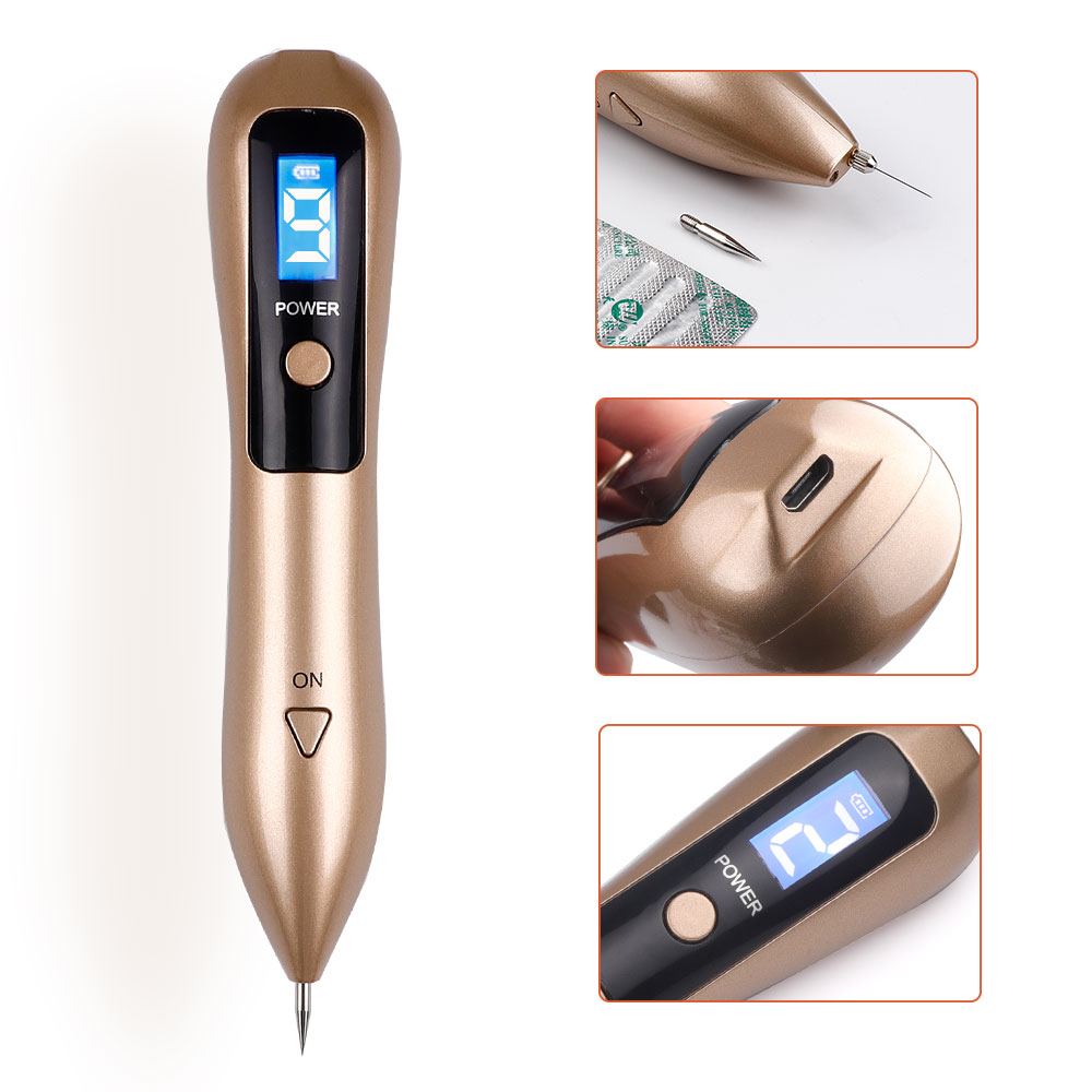 Newest Laser Plasma Pen 9 level Mole Removal Dark Spot Remover LCD Facial Freckle Tag Wart Beauty Care
