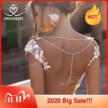 Sweetheart odpinany pociąg suknia ślubna nowy Swanskirt N130 aplikacje syrenka aplikacje suknia ślubna dostosowane Vestido de novia