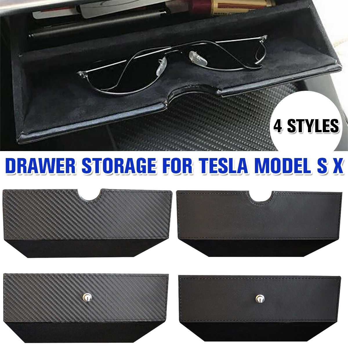 Drawer-Tray Storage-Box Center-Console Car-Interior-Accessories Model-X-Model Carbon-Style title=