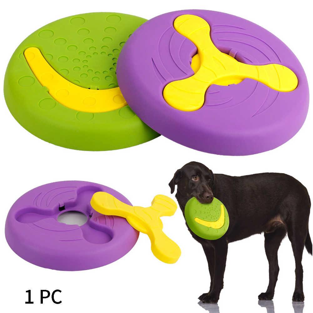 Trainning סיליקון משולב מחמד צעצועים אינטראקטיביים עגול מעופף דיסק להסרה רך לתפוס משחק ללעוס מזון מגש חיצוני