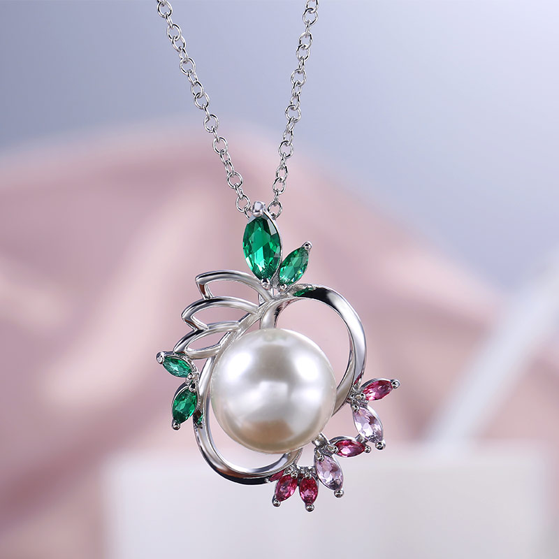 Huitan Novel Design Pendant Necklace Special Anniversary Gifts Brilliant Cubic Zircon Imitation Pearl Women Jewelry High Quality(China)