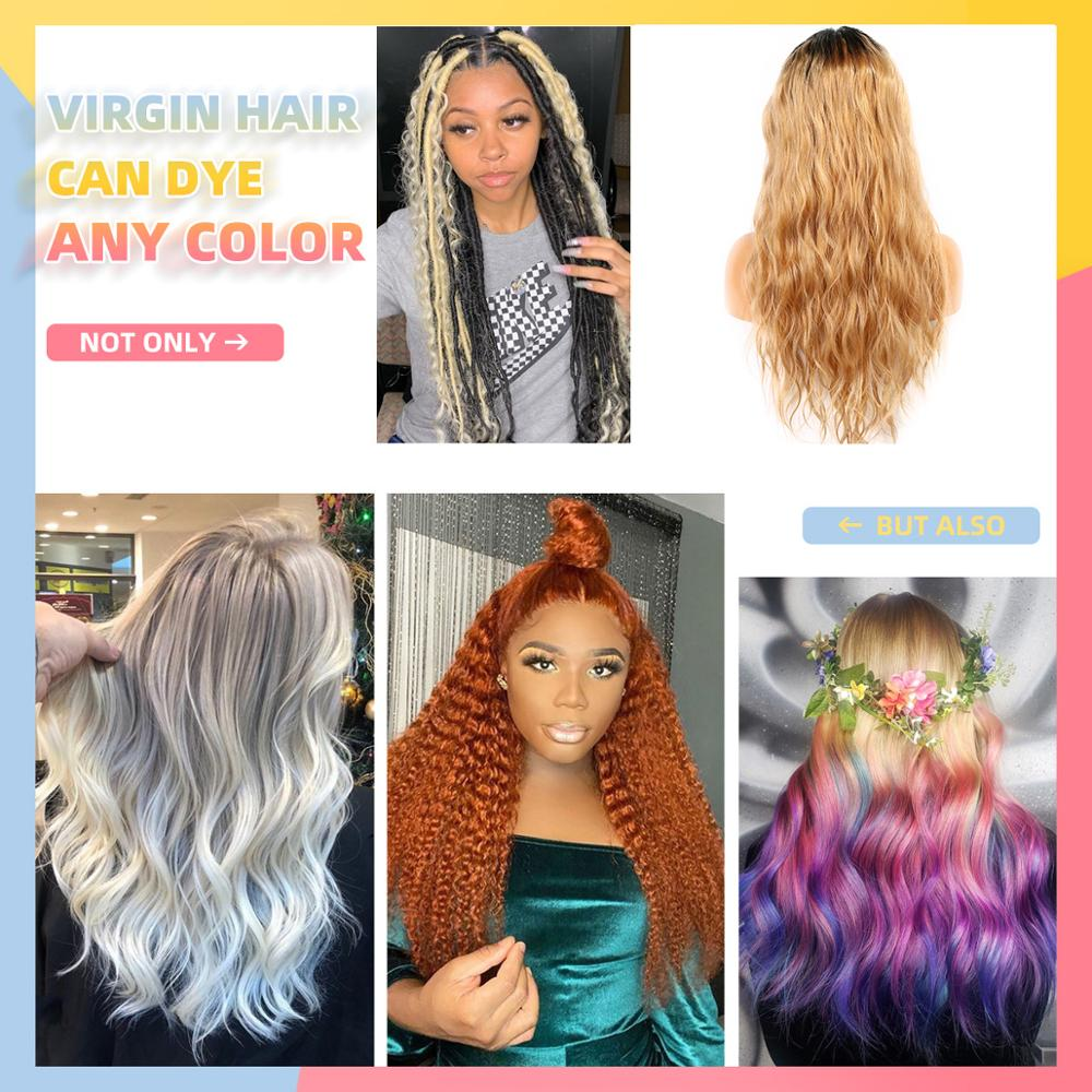 Ombre 1B 27 Colored Human Hair Wig Brazilian Virgin Natural Wave 13x4 Lace Front Wig Pre Plucked Glueless Wig For Women WoWEbony