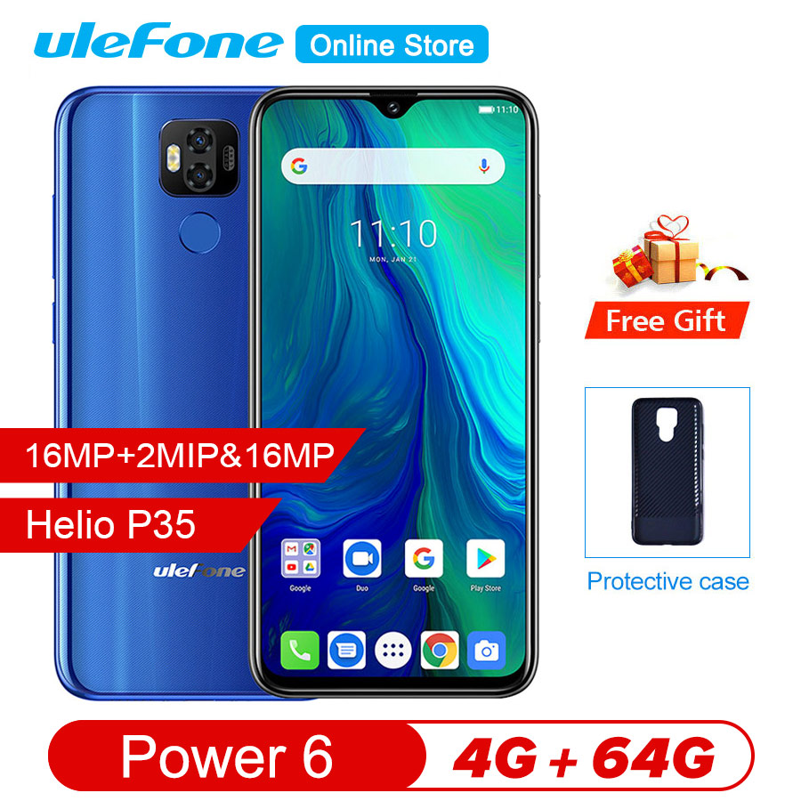"Image 1 - Ulefone power 6 Smartphone Android 9.0 Helio P35 Octa core 6350mah 6.3"" 4GB 64 GB 16MP face ID NFC 4G LTE Global Mobile Phones-in Cellphones from Cellphones & Telecommunications"