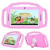 Funda de silicona con soporte gratuito M755 para tablet infantil Android 7.1.2 RK3126 Quad-Core DDR3 1GB + 8GB Cámara Dual IPS pantalla con WIFI Bluetooth
