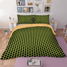 Wongs bedding Honeycomb Bedding Set Black Yellow Color Net Duvet Cover Pillowcase Bedclothes Home Textiles
