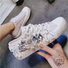 Summer 2019 new European heavy industry rhinestone lace-up white shoes fashion K