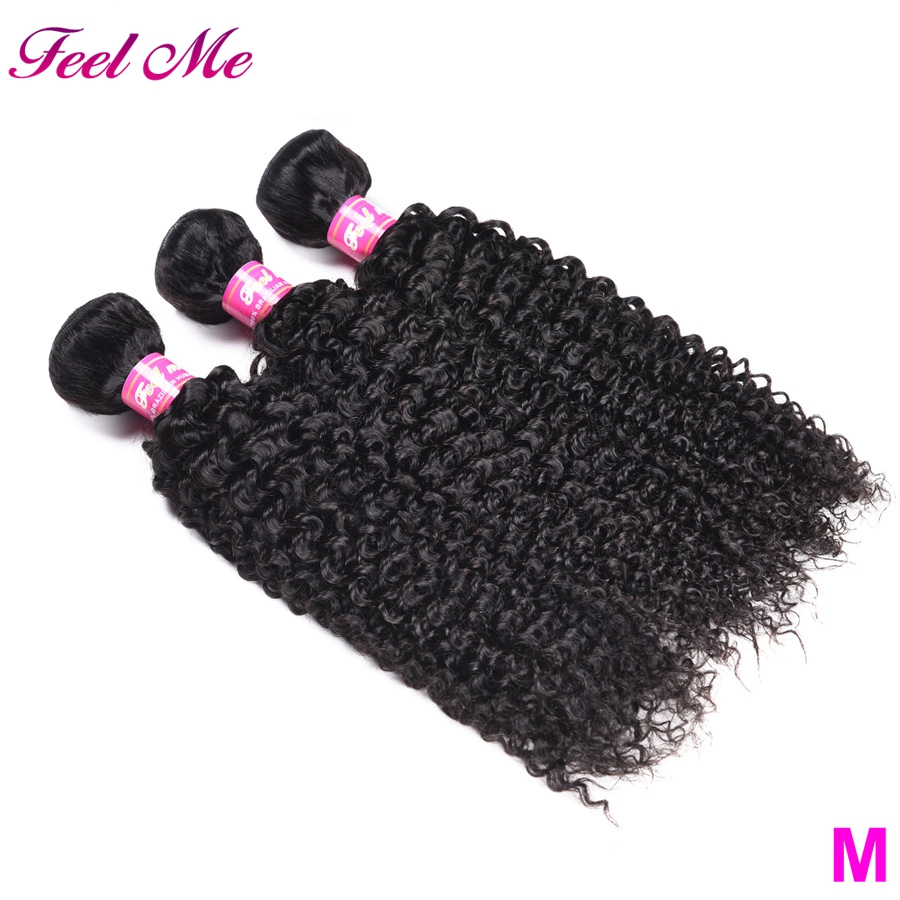 FEEL ME Mongolian Kinky Curly Hair Bundles 100% Human Hair Bundles Can Buy 3/4 PCS Middle Ratio Non-Remy Human Hair Extensions