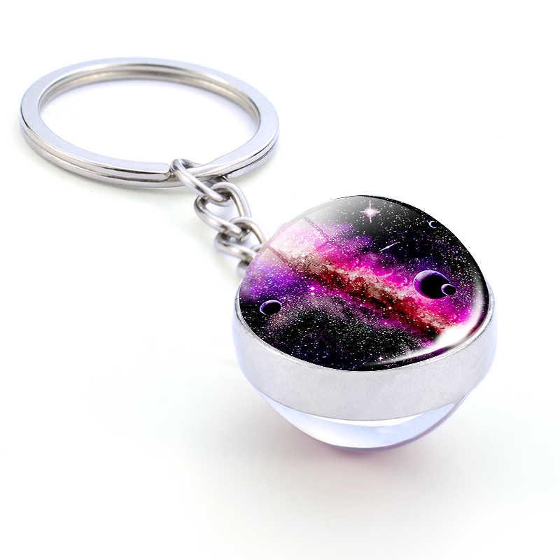 Galaxy Hành Tinh Móc Khóa Hợp Thời Trang Hệ Mặt Trời Nghệ Thuật Hình Ảnh Kính Bóng Móc Khóa Mặt Trăng Trái Đất Sao Hỏa Mặt Đôi Mặt Dây Chuyền Vũ Trụ Trang Sức