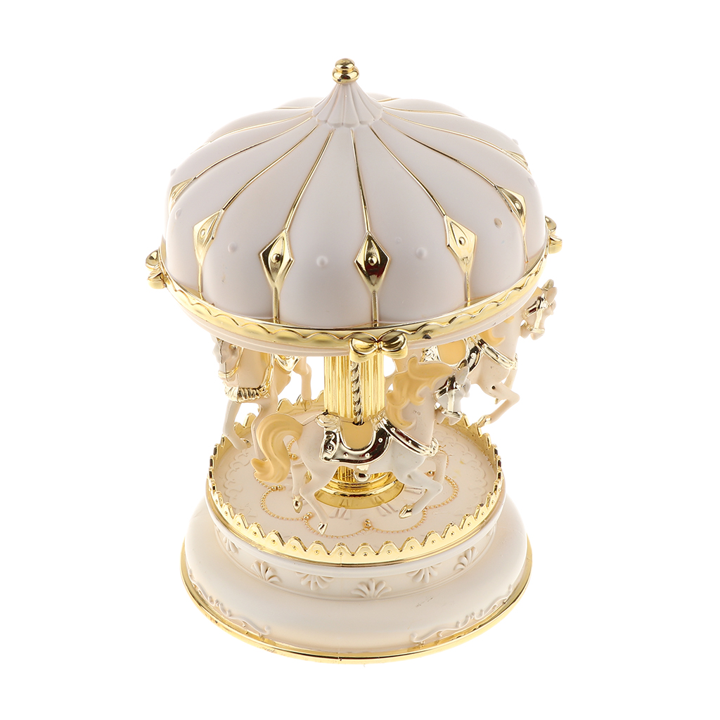 Carousel Music Box 7 Color Change LED Light Luminous Rotating Horse Music Box for Wedding Centerpiece Kid Girl Birthday Gift
