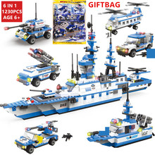 1230Pcs Military NAVY Warship Transport Aircraft ARMY SWAT Building Blocks Sets LegoINGLs DIY Bricks Playmobil Toys for Children