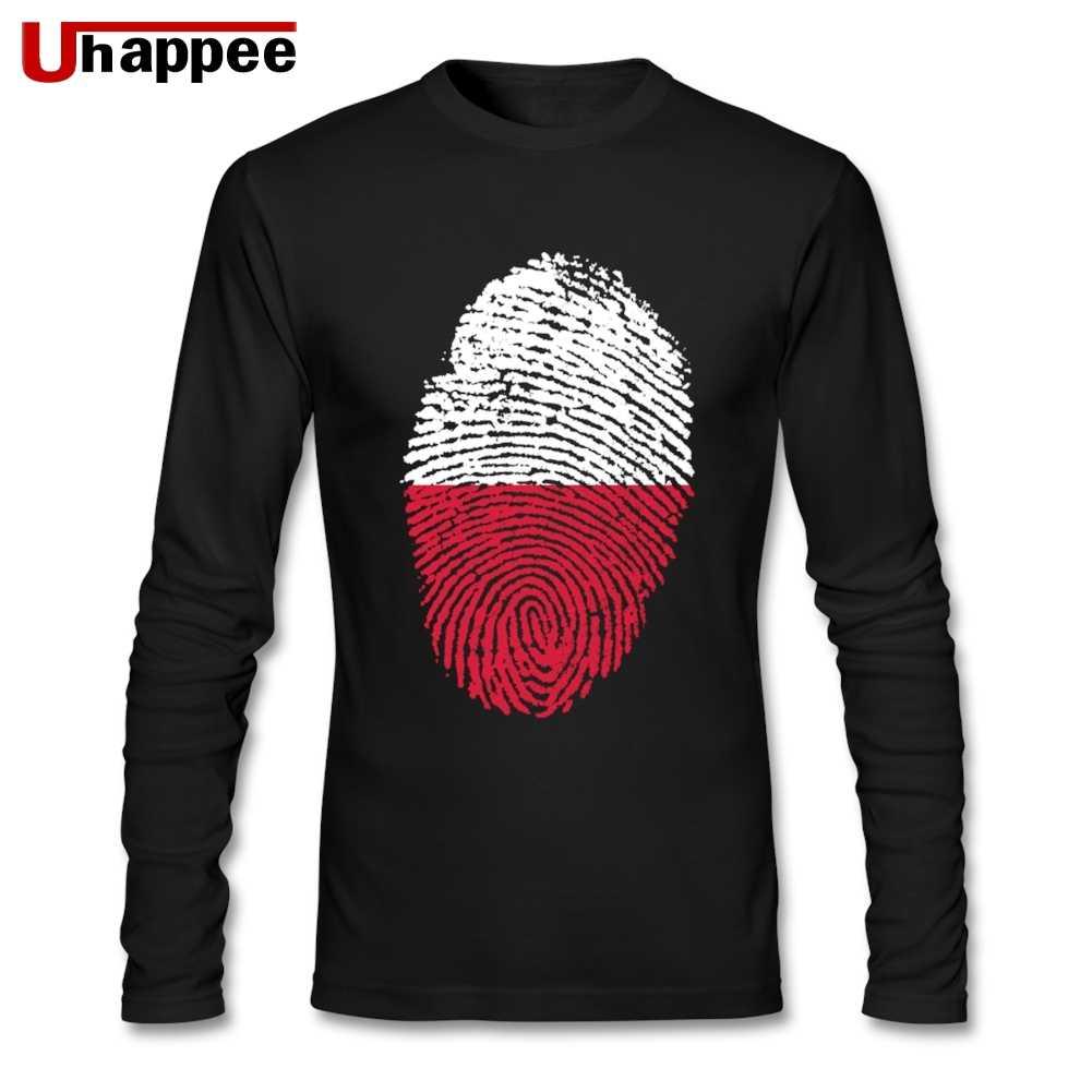 De los hombres de cuello redondo de manga larga de gran tamaño Base T camisas de la calle de bandera Polonia huella Camiseta para los hombres venta