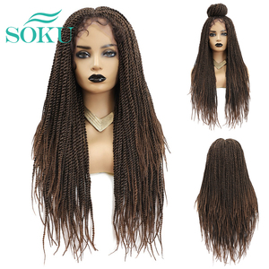 Image 5 - Soku合成中部編組かつら黒人女性のためのアフリカ系アメリカ人かつらロングtendy編組かつら編組髪