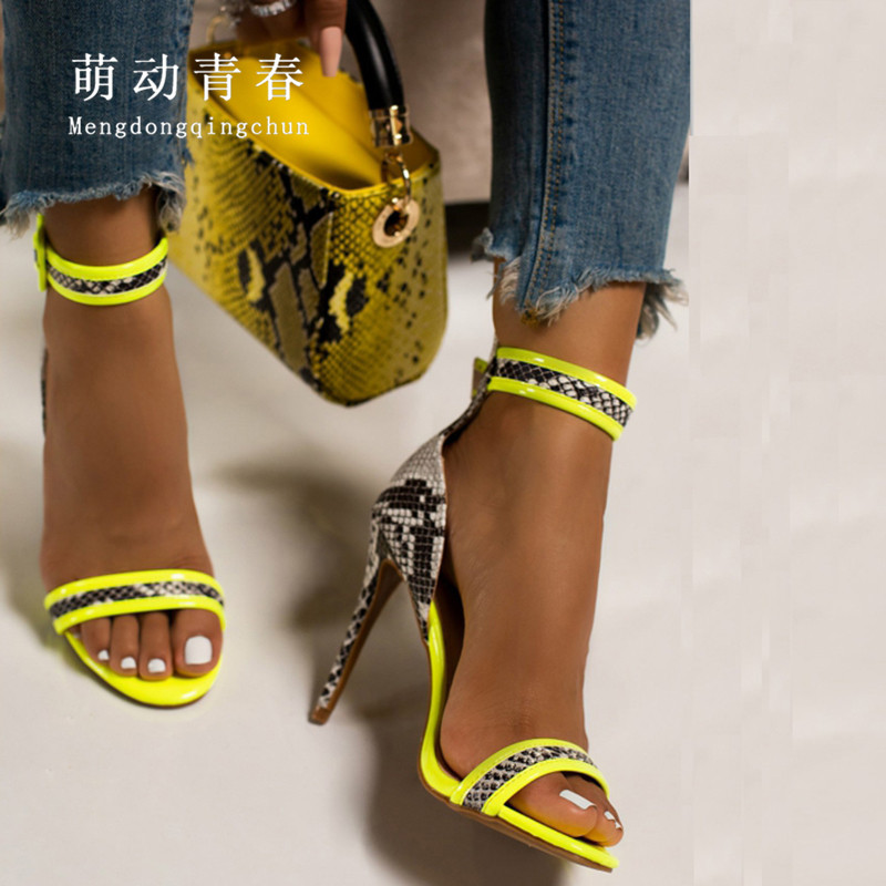 Plus Size 35-42 Open Toe Women Pumps Sexy Snake Print High Heeled Sandals Mujer Mix Color Female Party Nightclub Yellow Pumps