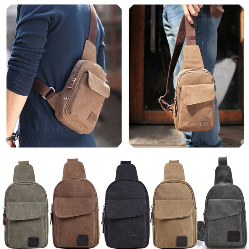 Men Crossbody Bags Canvas One Shoulder Backpack Oblique Chest Pack Small Chest Sling Bag Travel Hiking Fashion Bag