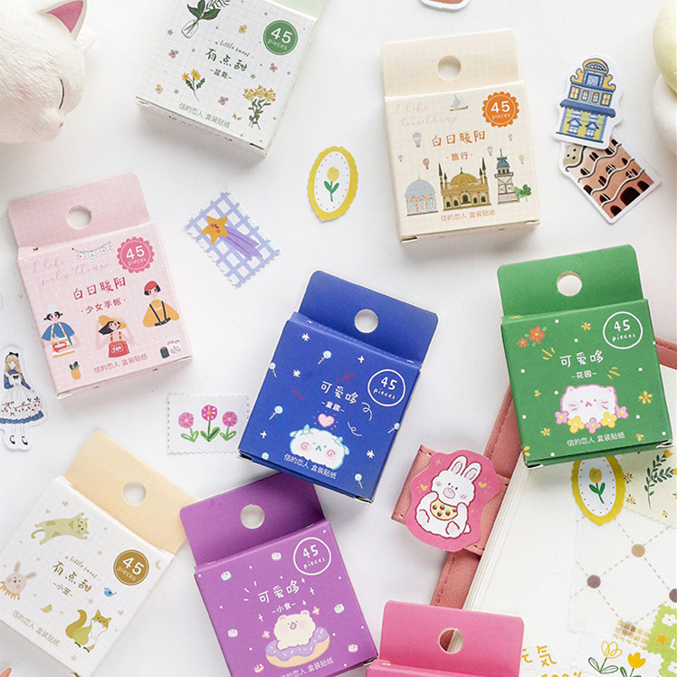 45pcs/pack Garden Plants Decorative Stickers Notes Notebook Diary Stationery Album Label