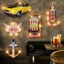 Vintage restaurante Bar LED lámpara de pared café decoración iluminación hierro arte ruta Cola helado Control remoto noche luces tablero señal