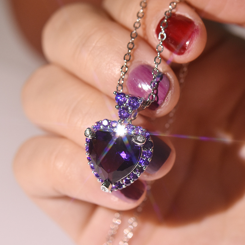 925 Silver Color Chain Necklace Purple Topaz Amethyst Pendant For Beautiful Women Luxury Gemstone Wedding Bizuteria Pendant