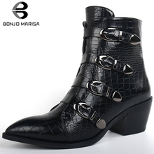 BONJOMARISA New 34-42 Brand Fretwork Booties Ladies Fashion Buckle Decorating Boots Women 2019 High Chunky Heels Shoes Woman