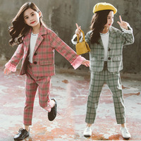 Teenage Girls Clothing Set Autumn Girls Plaid Suit Jackets +Pants School Tracksuit Girls Clothes Children Clothes 10 12 Year