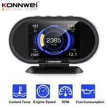 KONNWEI KW206 OBD2 על לוח מחשב אוטומטי רכב דיגיטלי מחשב תצוגת OBD 2 סורק טמפרטורת מים צריכת דלק מד