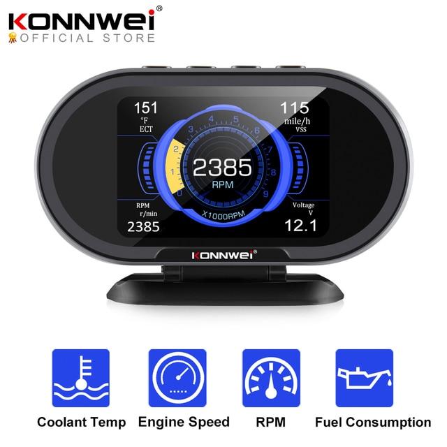 KONNWEI  KW206 OBD2 On Board Computer Auto Car Digital Computer Display OBD 2 Scanner Fuel Consumption Water Temperature Gauge