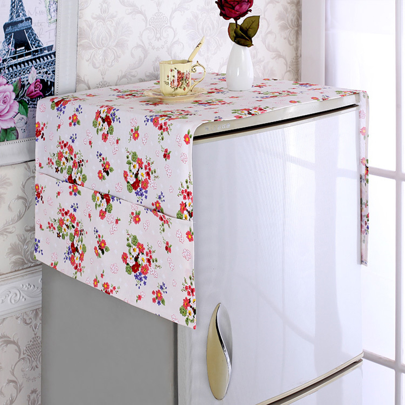 Cotton Refrigerator Dust Covers Washing Machine Cover with Pocket Dust Protector Refrigerator Storage Organizer Bag Hanging Bag