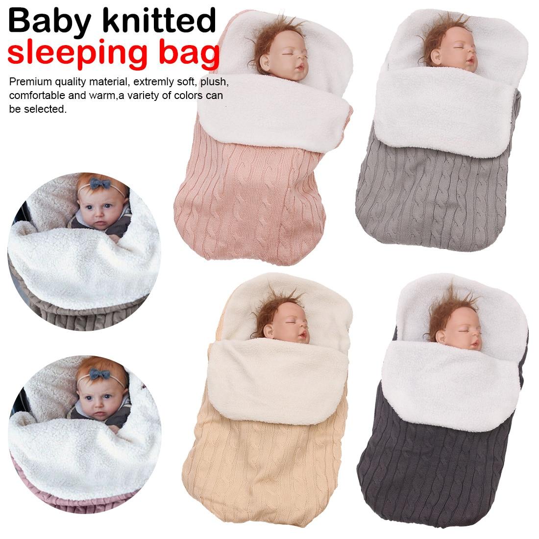 Baby Sleeping Bag Winter Kids Sleepsack Footmuff For Stroller Knitted Sleep Sack Newborn Swaddle Knit Wool Sleepbags