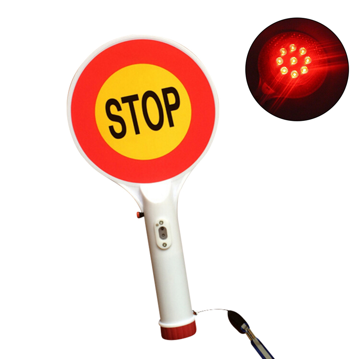 Handheld LED Traffic Sign Stop Light Rechargeable Car Warning Sign Flashlight Traffic Lights With Power Adapter Free Shipping