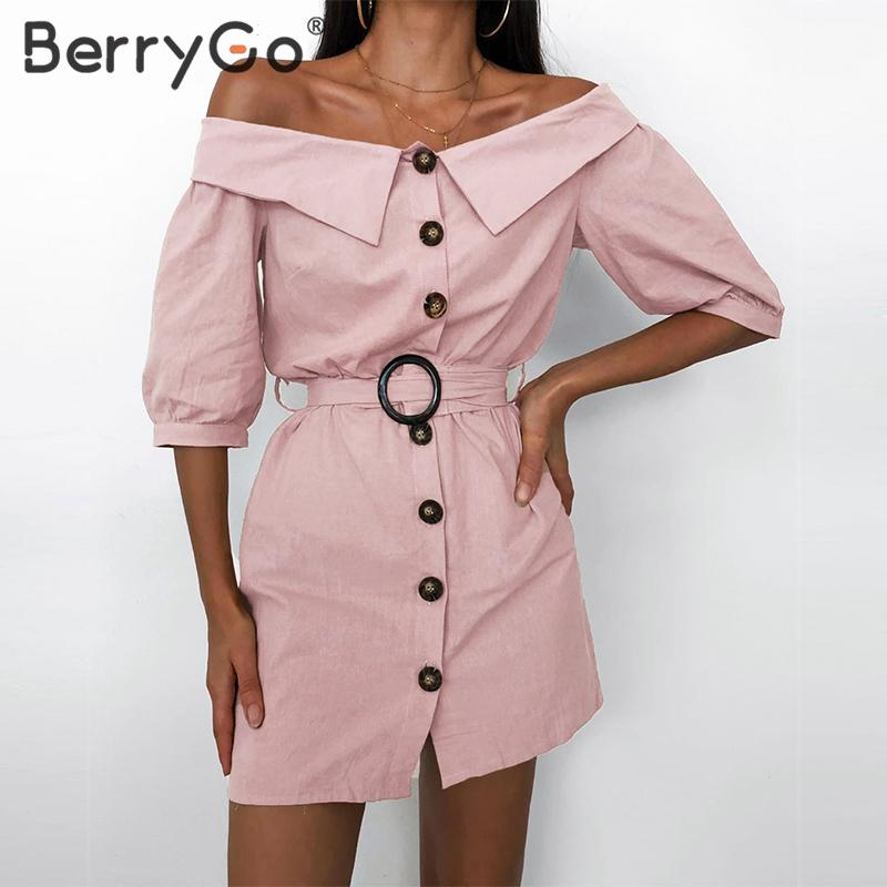 BerryGo Casual Off Shoulder Summer Dress Women Streetwear Lady Chic Straight Office Dress Sexy Solid Single Breasted Short Dress