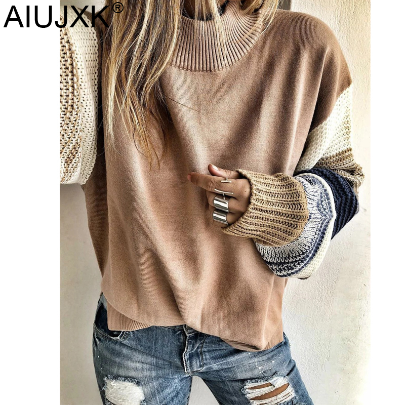 AIUJXK New Arrival 2019 Color Block Chunky Knit Round Neck Sweaters Women Fashion Autumn Winter Knitted Pullovers Female Jumper
