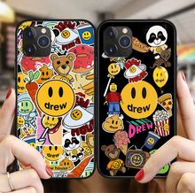 Luxury trend brand Justin Bieber drew house Phone Case For iPhone X XS XR 11 Pro Max 8 7 6 6S Plus Smiley face soft TPU Cover(China)