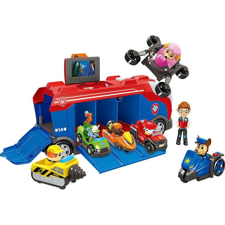 Un bus + capitaine Ryder + 6 pièces voiture patte patrouille sauvetage Bus chien Patrulla canina jouets véhicule Figure modèle anniversaire cadeaux pour enfant